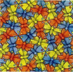 """""""Borboletas""""; desenho, 1948; de M. C. Escher."""