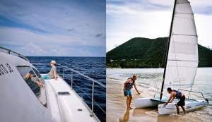 A collage of sailing boats big and small in St Lucia