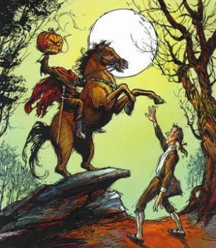 Representación del siglo XIX de Ichabod Crane y el Jinete sin Cabeza