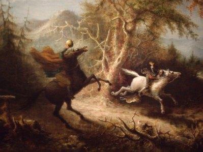 Cuadro de John Quidor (1858) representando la intrépida carrera del Crane y el Jinete sin Cabeza