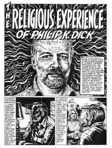 Dick afirmaba tener experiencias religiosas. Dibujo de R. Crumb