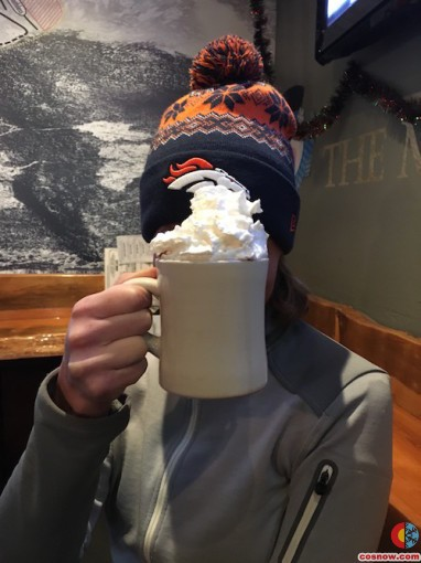 Hot chocolate at Ollie's bar in Breck