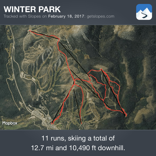 Slopes map at Winter Park 2017-02-18