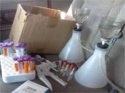 Filtering water in the back of the MSC van!
