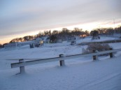 Snowy sunset at the MSC