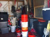 """Just some of the contents of our lab's outdoor storage shed… the """"scientific equipment"""" we marine ecologists use."""