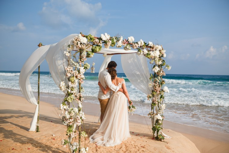 Beach Wedding Ceremony Couple