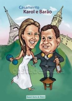 caricatura casal bebida casamento viagem paris londres