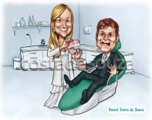 caricatura dentista noivos convite casamento