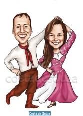 caricatura costa de souza dança gaúcha vanerão