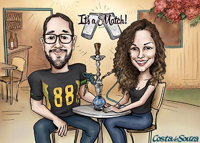 caricatura presente namorados