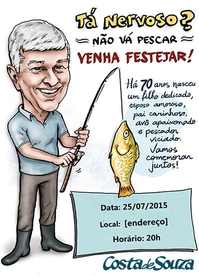 caricatura convite aniversario 70 anos