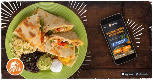 A plate of chicken quesadillas with rice, black beans, guacamole and sour cream next to a smartphone displaying the Costa Vida app. The Costa Vida logo is in the lower-left of the image, along with the App Store and Google Play logos in the lower-right.