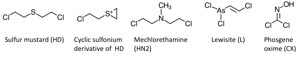 The figure shows the chemical structures of four vesicants: sulfur mustard (HD), mechlorethamine (HN2), lewisite (L) and phosgene oxime (CX). The highly reactive cyclic sulfonium derivative of HD is also shown.