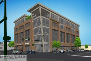 Bank Independent's Madison County headquarters will anchor the building. (Nola VanPeursem Architects)