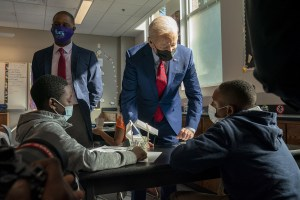 President Biden visited a Washington, D.C., middle school amid criticism of his vaccine mandate for private companies. (Getty Images)