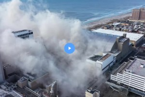 The former Trump Plaza Hotel & Casino in Atlantic City was imploded on Wednesday. (Getty Images)