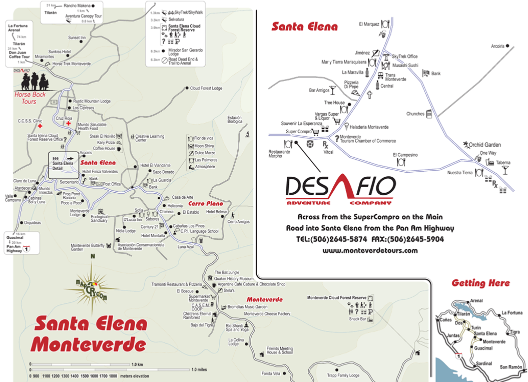 Santa Elena (including Monteverde and Cerro Plano) Map (click to enlarge)