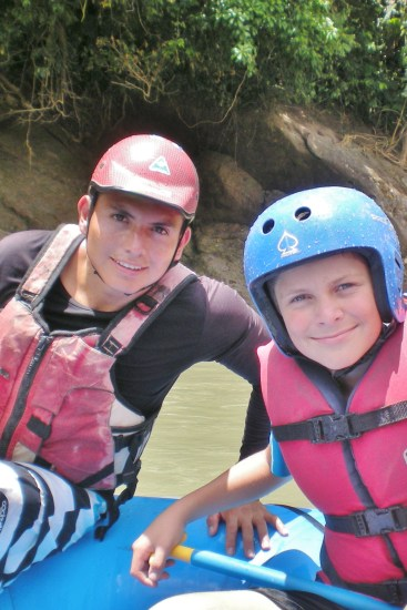 Ricky; with our nephew while white water rafting