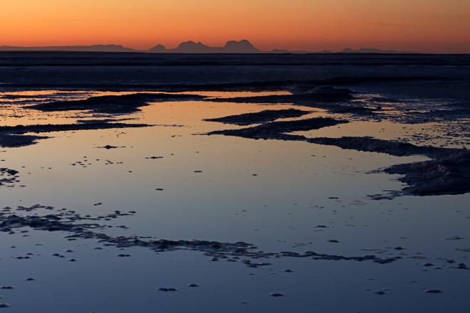 Salt pan, San Ignacio Lagoon, El Vizcaino Biosphere Reserve, Baja California, Mexico, March
