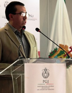 Enoc Maldonado, fiscal de la PGJE para el caso Goyo Jiménez, en la conferencia de prensa.
