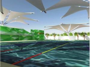 el proyecto consiste en la construcción de una alberca semiolímpica con: gradas, baños, bancos de salida y techo.