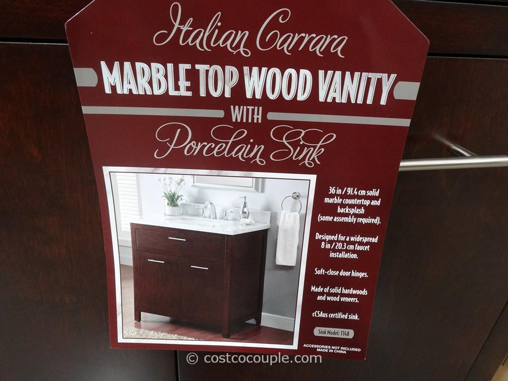 Lanza Products 36 Inch Italian Carrara Marble Top Wood Vanity