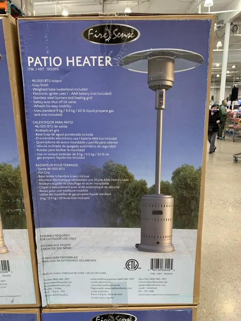 costco patio heaters fire sense gray