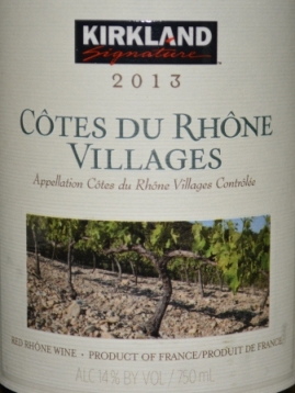2013 Kirkland Signature Cotes du Rhone Villages