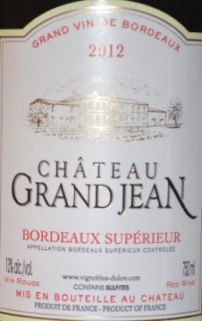2012 Chateau Grand Jean Bordeaux Superieur