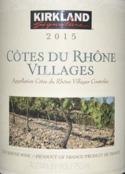 2015 Kirkland Signature Cotes du Rhone Villages
