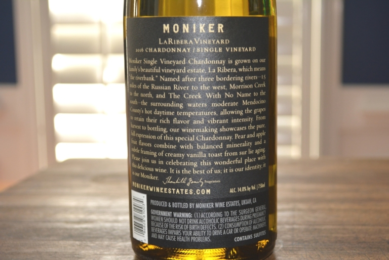 2016 Moniker La Ribera Vineyard Single Vineyard Chardonnay