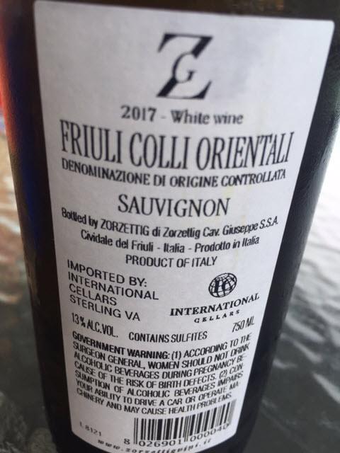 2017 Zorzettig Sauvignon Blanc