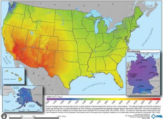 Germany solar power resources vs US solar power resources