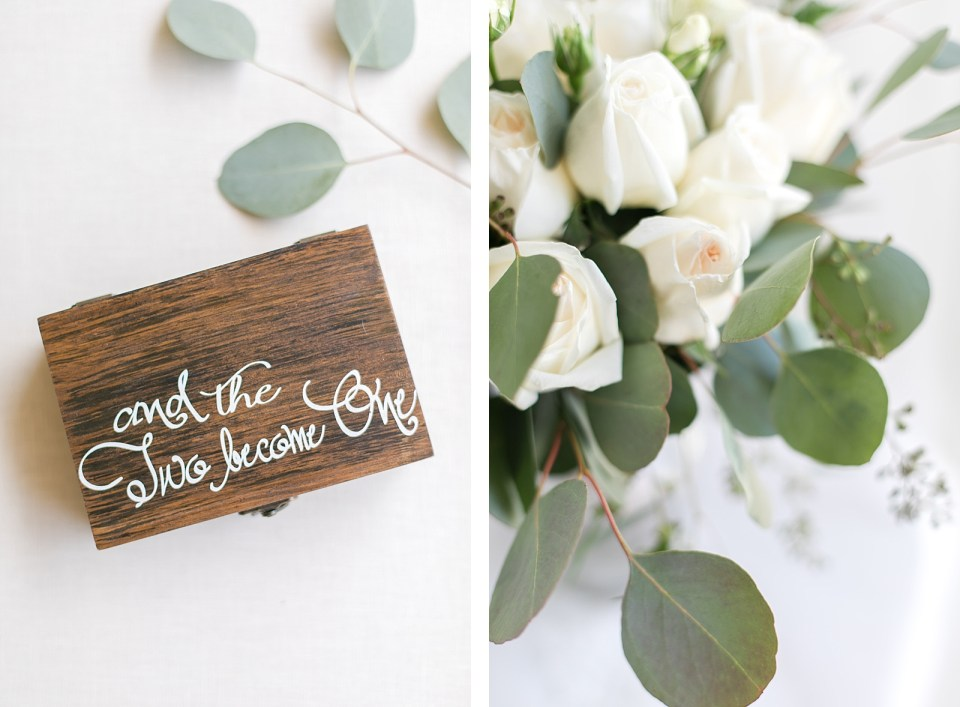 wedding details ring box eucalyptus bouquet