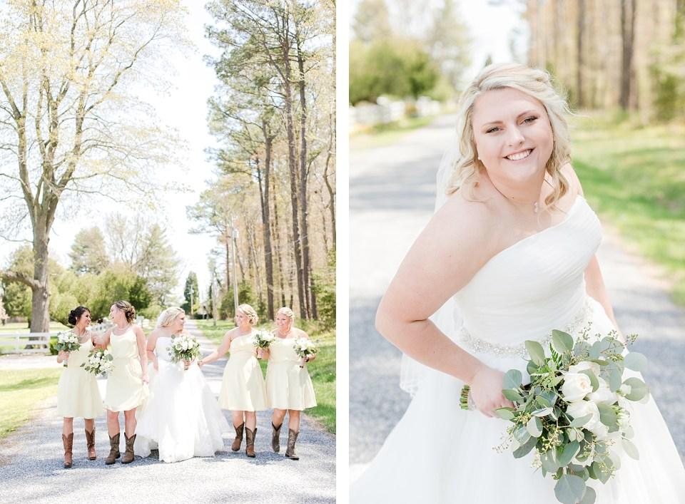 country bridal party Spring Bowles Farm Wedding