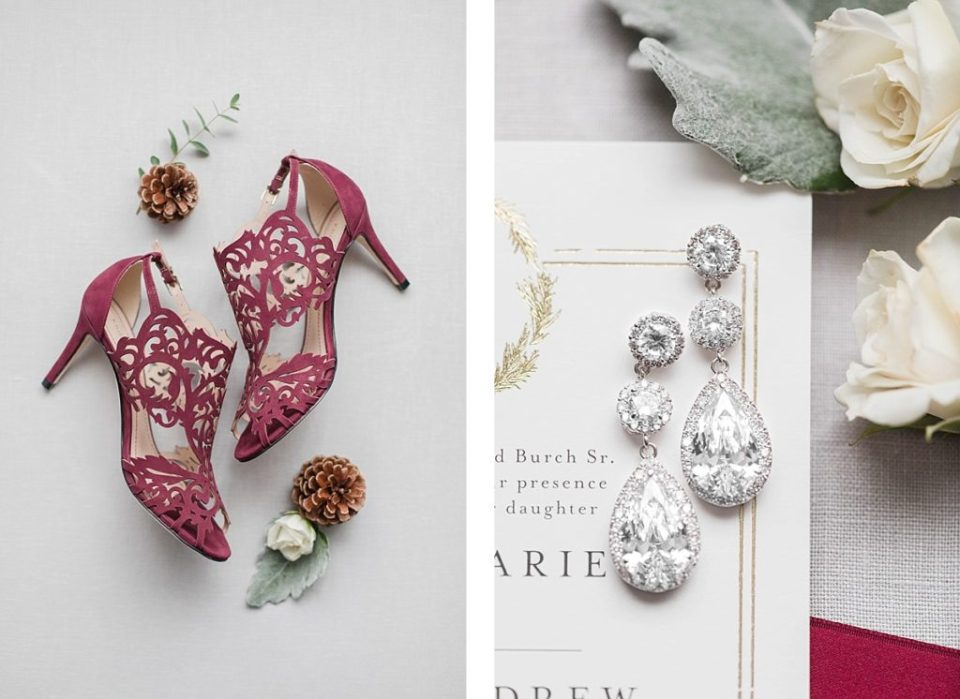 red wedding shoes and earrings