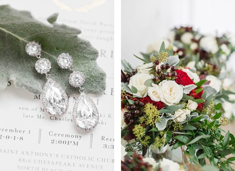 winter earrings and florals