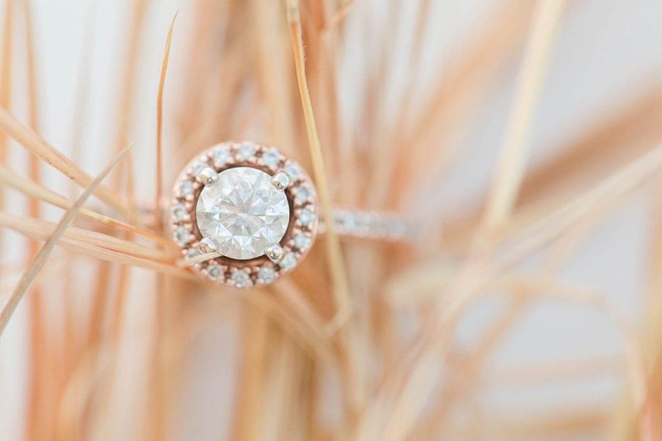 Romantic Engagement ring on a dirt road in Southern Maryland by Costola Photography