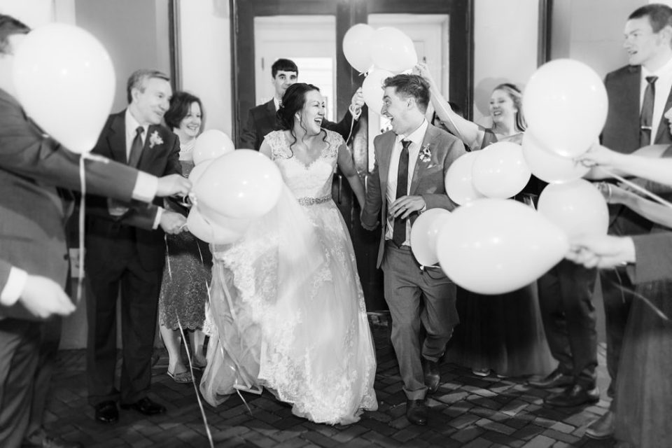 Balloon Exit Spring Cherry Blossom Wedding at Decatur House in Washington D.C. Wedding