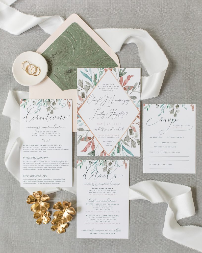 Olive and Blush invitation suite at flora corner farm photographed by costola photography