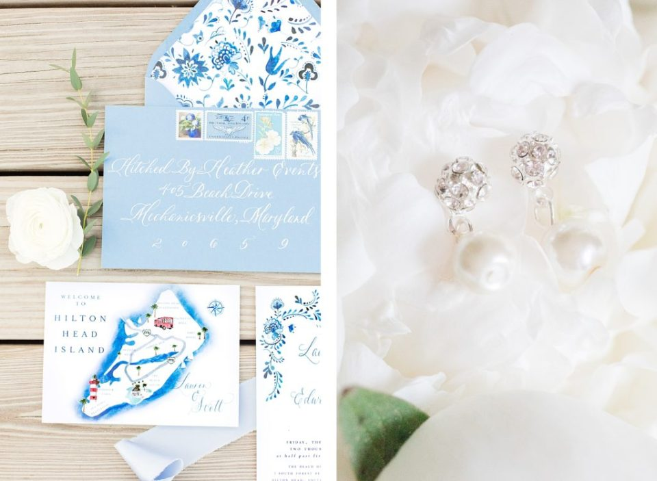 Beach Blue Wedding Invitation Suite by Costola Photography for Hilton Head South Carolina Wedding