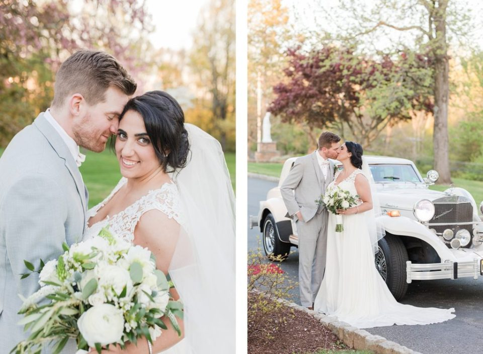 White Vintage Car on Wedding Day in New Jersey by Costola Photography