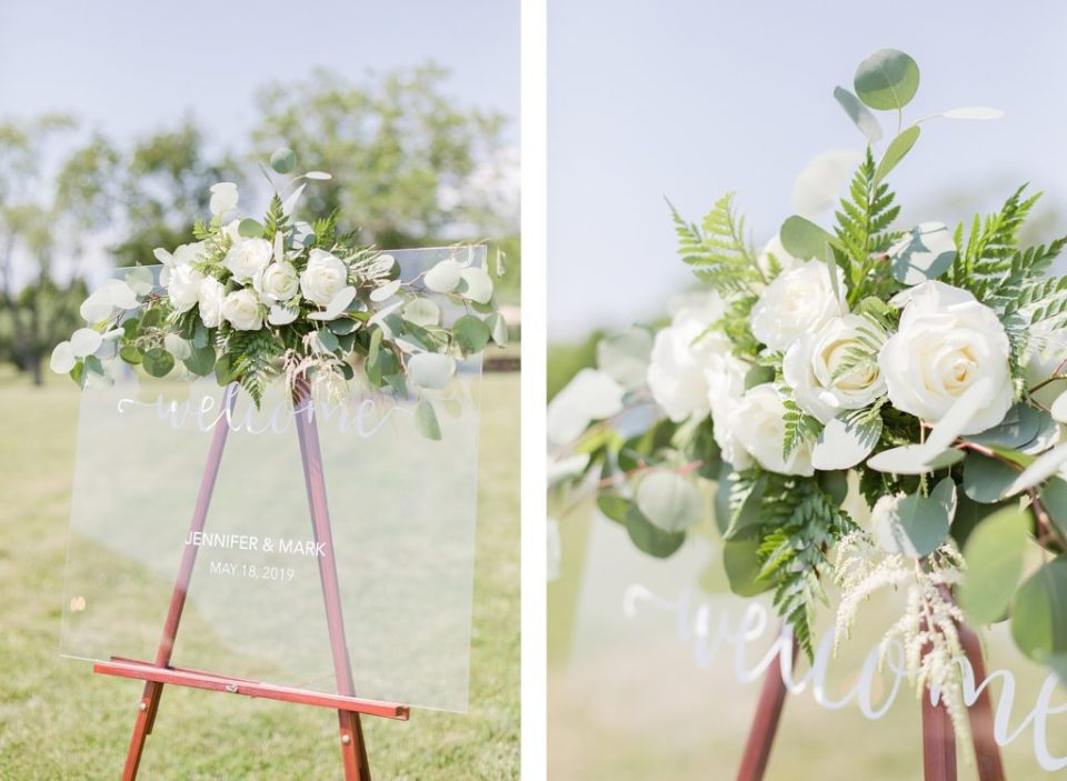 acrylic glass ceremony sign at weatherly waterfront farm photography by costola photography