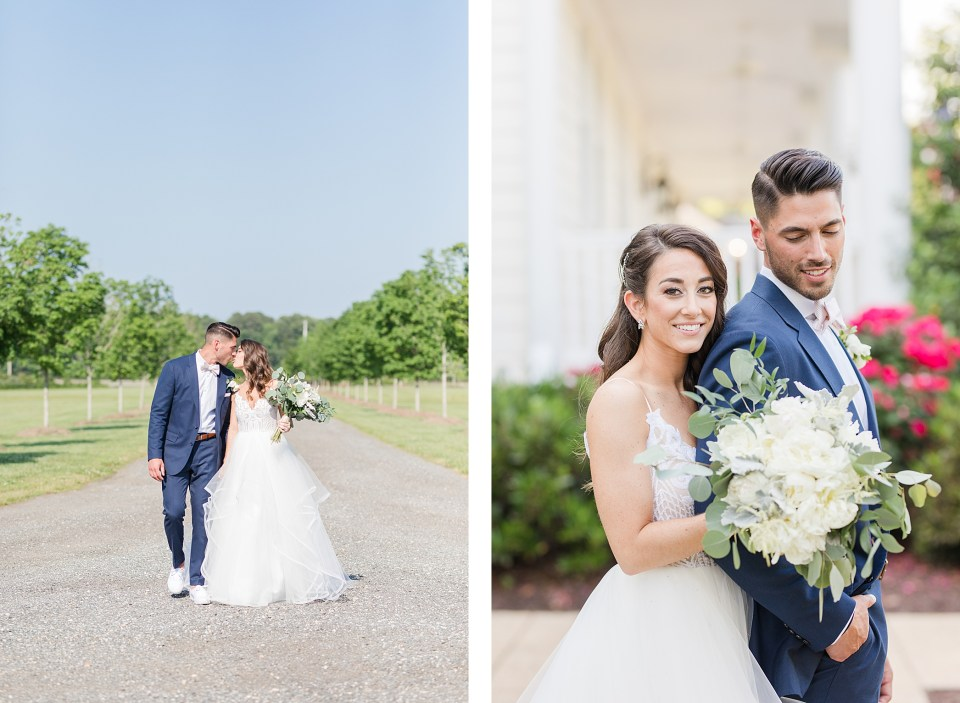 bride and groom portraits at waterfront wedding venue in southern maryland by costola photography