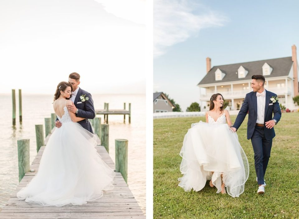 sunset bride and groom portraits at waterfront wedding venue in southern maryland by costola photography