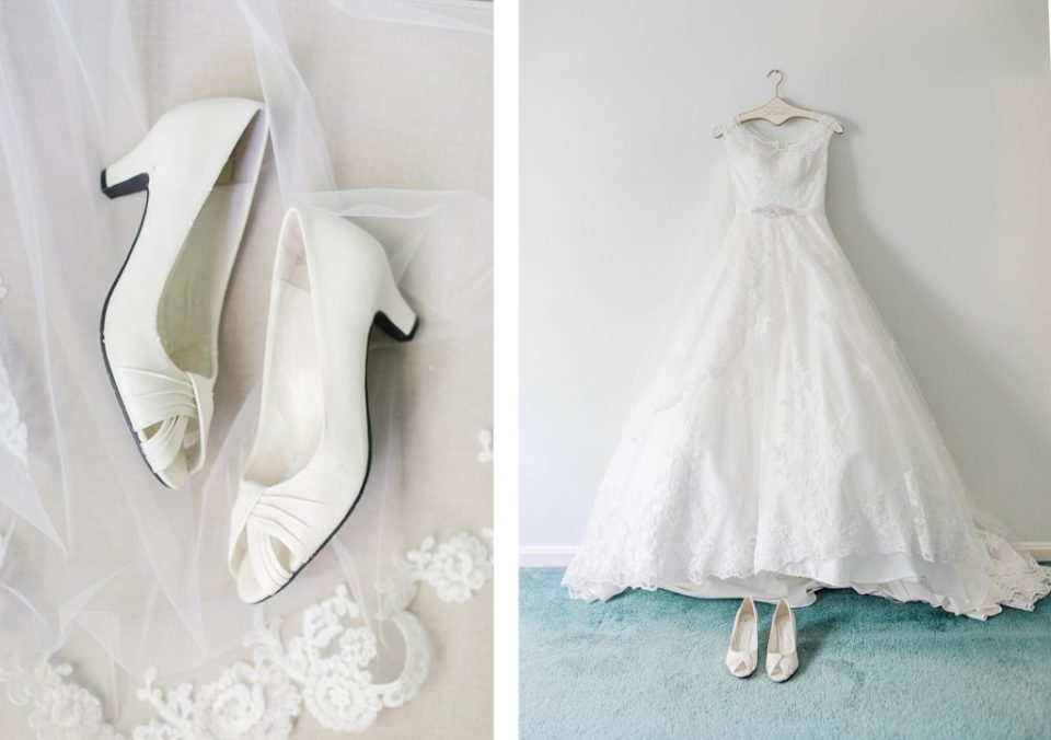 Classic bridal shoes and dress by costola photography