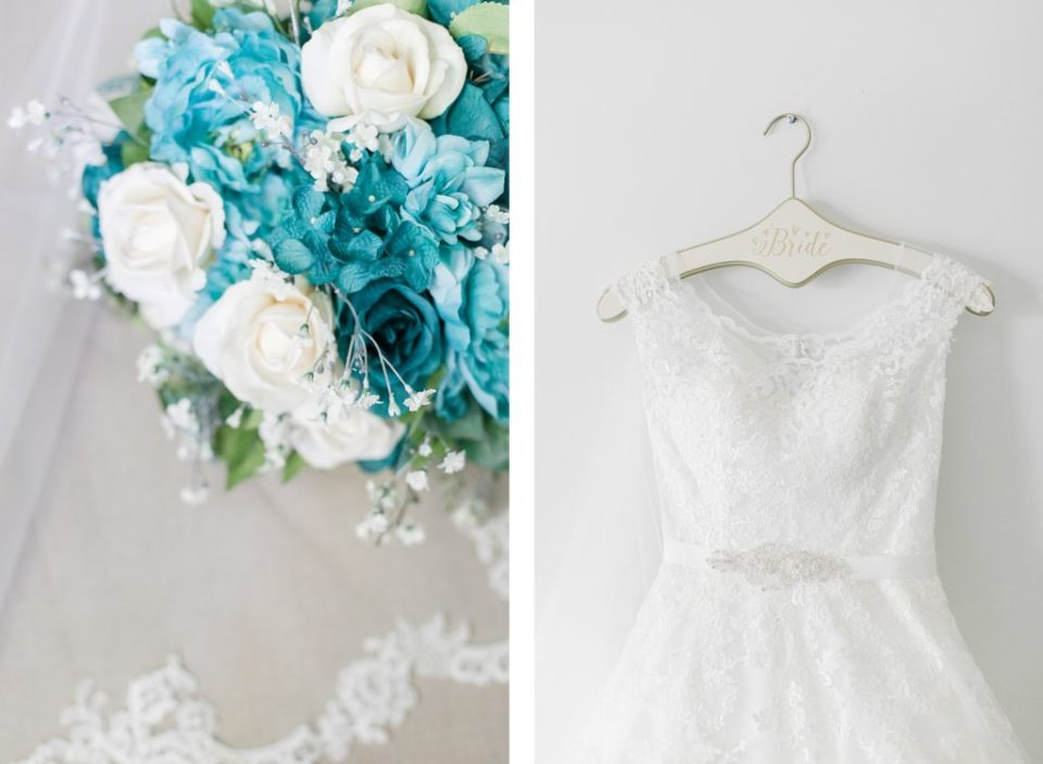 teal bouquet and wedding dress by costola photography