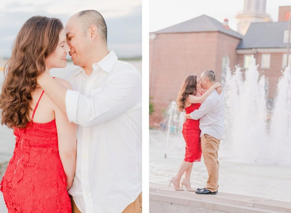 red dress engagement session in alexandria virginia by costola photography
