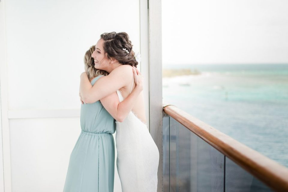 bride getting ready on cruise ship to turks and caicos by Costola Photography